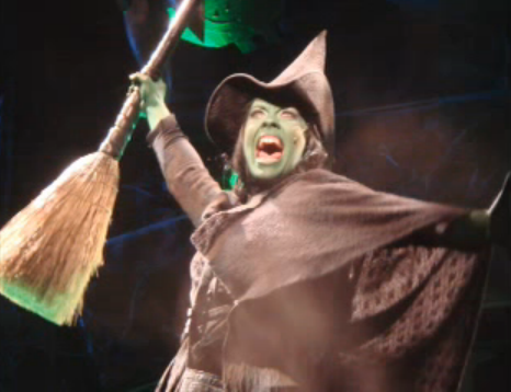 Erin Cornell playing the role of Elphaba in Wicked