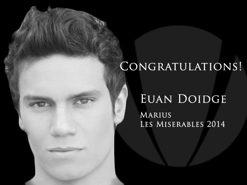 Euan Doidge is cast as Marius in the Australian stage version of Les Miserables in 2014